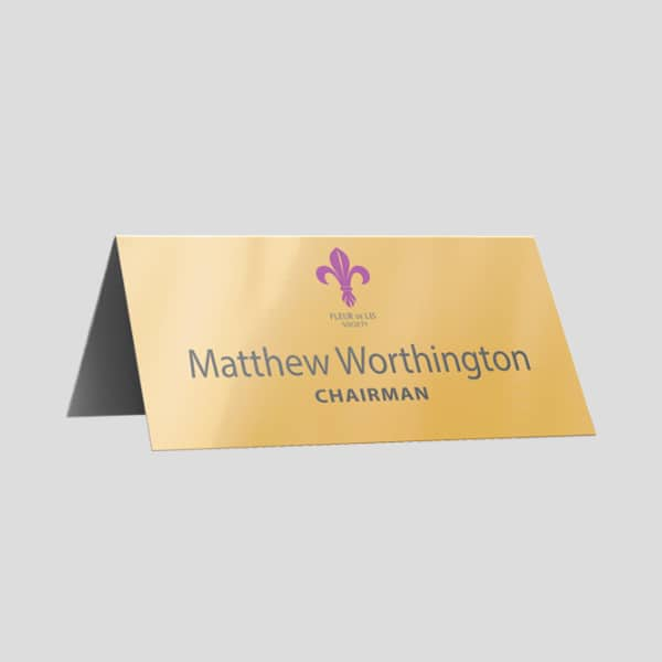 Desktop printed or etched nameplates - metal or plastic