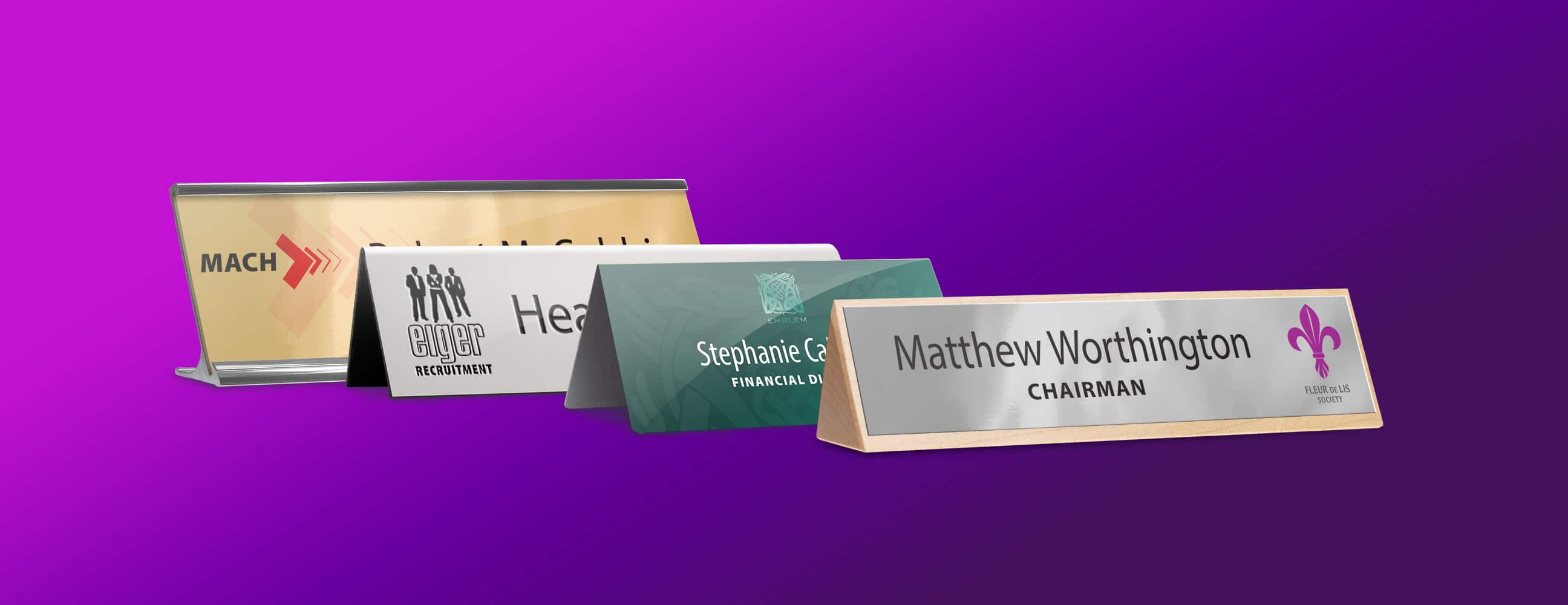 Desk nameplates printed and reusable